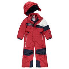 Τρίχρωμη ολόσωμη φόρμα του σκι με επένδυση μικροφλίς και φερμουάρ στις τσέπες
