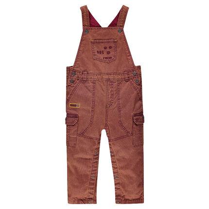 Salopette à poches avec petites pattes brodées et patch fantaisie