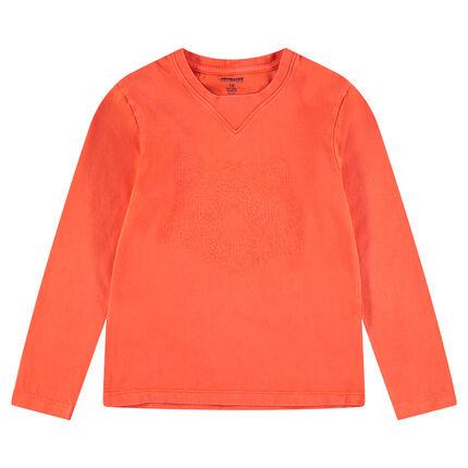 Παιδικά - Μακρυμάνικη μπλούζα από ζέρσεϊ με κεντημένη τίγρη στάμπα