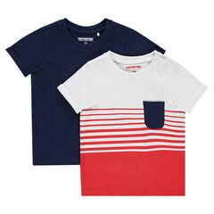 Σετ 2 μονόχρωμες κοντομάνικες μπλούζες από ζέρσεϊ