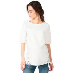 Κοντομάνικη μπλούζα εγκυμοσύνης από δύο υλικά