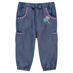 Παντελόνι από σαμπρέ ύφασμα με κεντημένες λεπτομέρεις και τσέπες