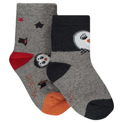 Σετ 2 ζευγάρια ασορτί κάλτσες με ζακάρ μοτίβο πιγκουίνους