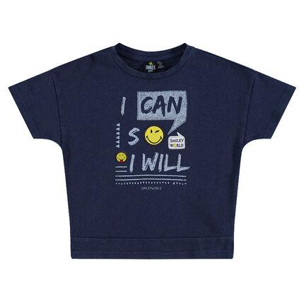 Κοντομάνικη μπλούζα με φράσεις και σήματα ©Smiley