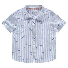 Κοντομάνικο πουκάμισο με ρίγες και γράμματα σε όλη την επιφάνεια