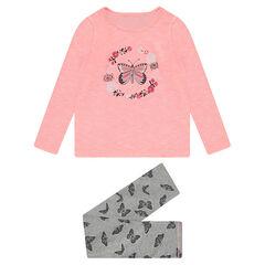 Παιδικά - Ζέρσεϊ πιτζάμα δίχρωμη με τυπωμένες πεταλούδες