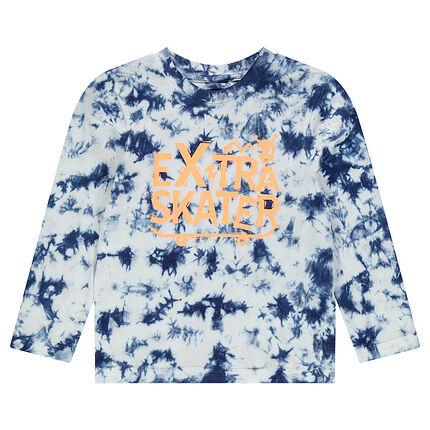 Μακρυμάνικη μπλούζα από ζέρσεϊ με εφέ τεχνοτροπίας shibori