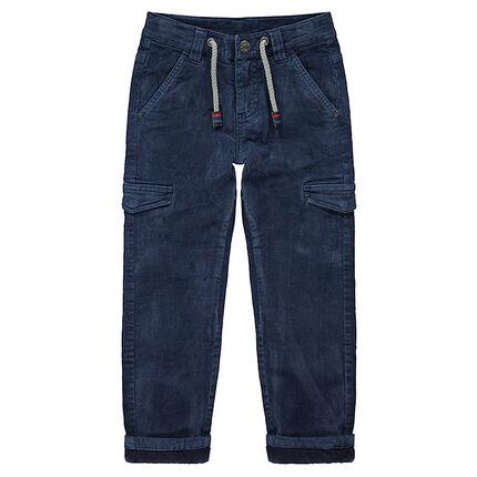 Παντελόνι βελουτέ με επένδυση ζέρσεϊ και τσέπες με καπάκι