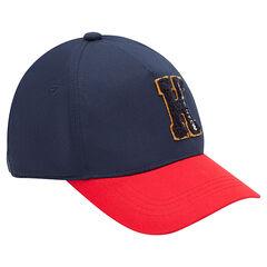 Δίχρωμο καπέλο από τουίλ με μπάλωμα γράμμα