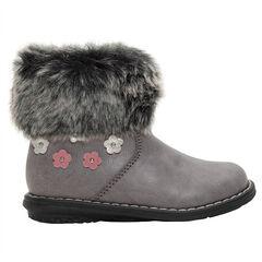 Χαμηλές μπότες από συνθετικό δέρμα με λουλούδια και συνθετική γούνα στο άνοιγμα