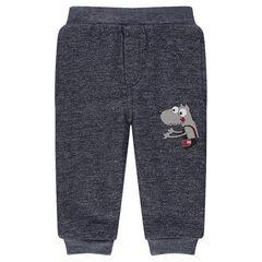 Παντελόνι από φανέλα μελανζέ με επένδυση από sherpa.