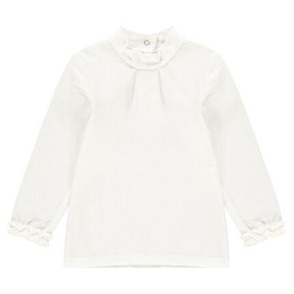 Μακρυμάνικη μπλούζα με λαιμό ζιβάγκο και φρουφρού στις μανσέτες