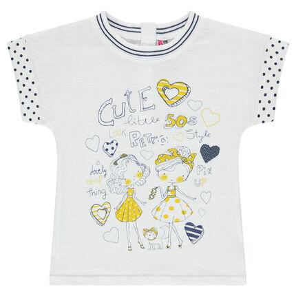 Tee-shirt fantaisie manches courtes aspect lin