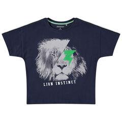 Κοντομάνικη μπλούζα από ζέρσεϊ με στάμπα λιοντάρι