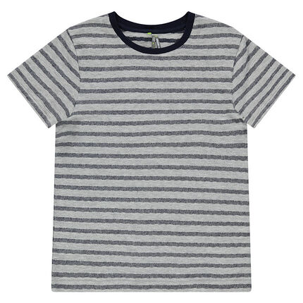 Παιδικά - Κοντομάνικη μπλούζα ζέρσεϊ με φαντεζί ρίγες