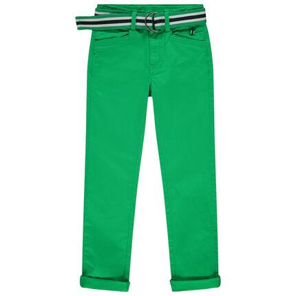 Πράσινο υφασμάτινο παντελόνι με αφαιρούμενη ριγέ ζώνη