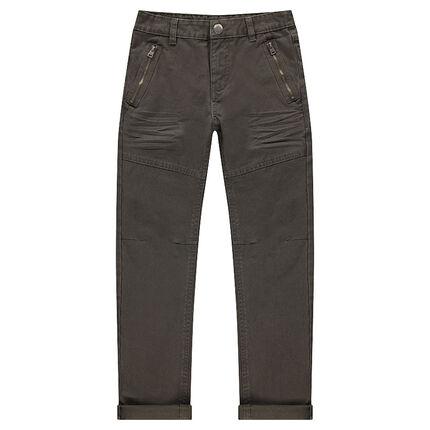 Βαμβακερό παντελόνι νηματοβαφή με φερμουάρ στις τσέπες