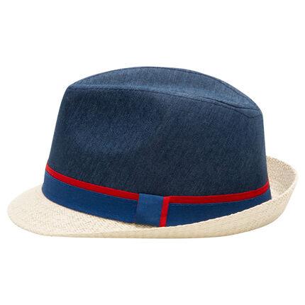 Καπέλο τύπου μπορσαλίνο από δύο υλικά με δίχρωμο σιρίτι
