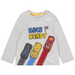 Μακρυμάνικη γκρι μελανζέ μπλούζα με στάμπα Cars της Disney