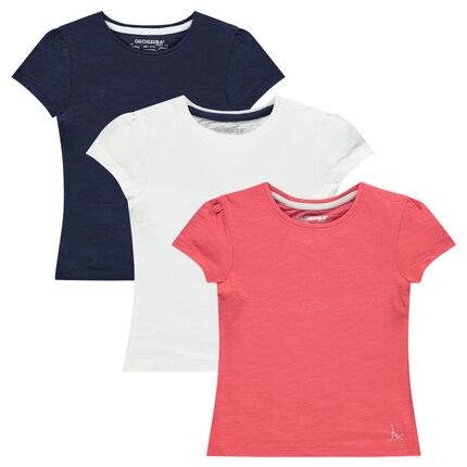 Σετ 3 κοντομάνικες μονόχρωμες μπλούζες
