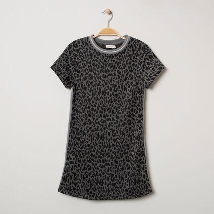 Παιδικά - Κοντομάνικο φόρεμα με λεοπάρ μοτίβο και λωρίδες