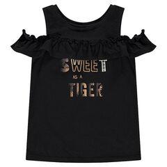 Αμάνικη μπλούζα με άνοιγμα στους ώμους και χρυσαφί φράση