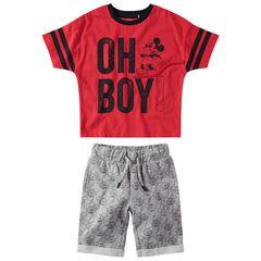 Σύνολο με μονόχρωμη μπλούζα Disney με στάμπα Mickey και μήνυμα και βερμούδα εμπριμέ