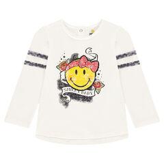 Μακρυμάνικη μπλούζα από ζέρσεϊ slub ύφασμα με ©Smiley σε ροκ στιλ