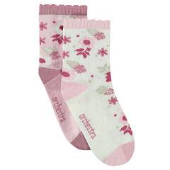 Σετ 2 ζευγάρια κάλτσες με ζακάρ λουλούδια και φεστόνι στο τελείωμα
