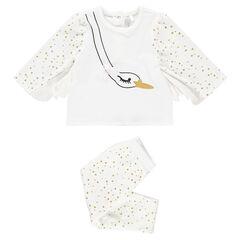 Βελουτέ πιτζάμα με μοτίβο κύκνο και φτερά και τυπωμένο πουά μοτίβο c25dfad5fd7