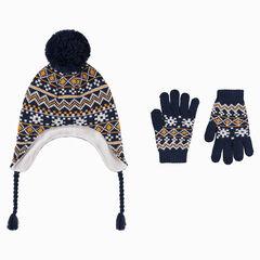 Πλεκτό σύνολο περουβιανός σκούφος και γάντια με φλις επένδυση και ζακάρ μοτίβα