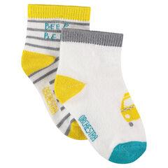 Σετ 2 ζευγάρια ασορτί κάλτσες με μοτίβο αυτοκίνητο