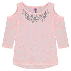 Ζέρσεϊ μπλούζα με μανίκια 3/4, άνοιγμα στους ώμους και ασημί λουλούδια