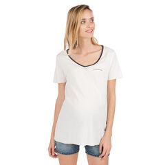 Μονόχρωμη μπλούζα εγκυμοσύνης με μπάλωμα στο στήθος