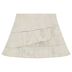 Φούστα με βολάν από λεπτή φανέλα μελανζέ με μεταλλιζέ ίνες