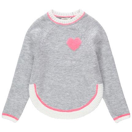 Πλεκτό πουλόβερ με πετσετέ καρδούλα και στρογγυλεμένα πέτα