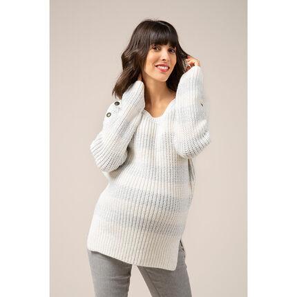 Χοντρό πουλόβερ εγκυμοσύνης με ρίγες και κουμπιά