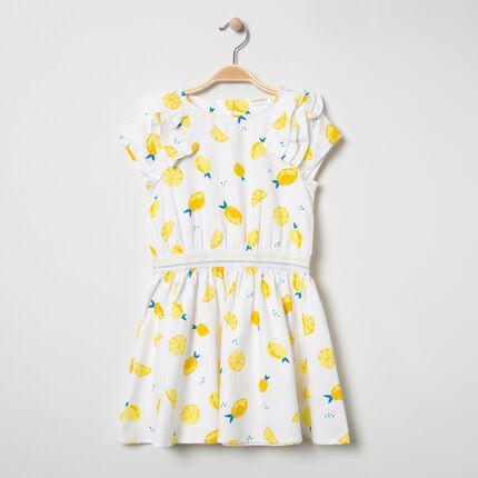 Φόρεμα με εμπριμέ μοτίβο λεμόνια και βολάν στα μανίκια