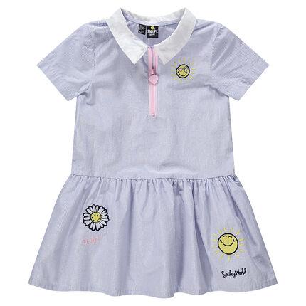 Κοντομάνικο φόρεμα με λεπτές ιριδίζουσες ρίγες και κεντήματα ©Smiley