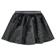 Κλος βελουτέ φούστα με γυαλιστερή ζώνη