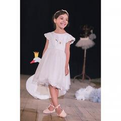 090c3a9577a Γιορτινό φόρεμα από δύο υλικά με αφαιρούμενη κάπα από τούλι