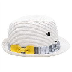 Καπέλο με όψη ψάθας και τρέσα με ρίγες και κίτρινο φιόγκο