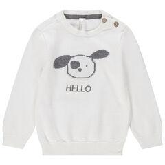 Πλεκτό πουλόβερ με διακοσμητικά στοιχεία μπροστά και άνοιγμα στην πλάτη