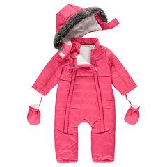 Ολόσωμη φόρμα του σκι με γαντάκια και αφαιρούμενη κουκούλα