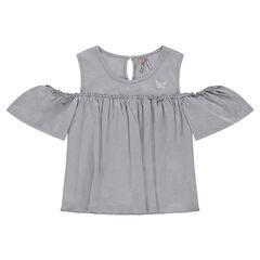 Παιδικά - Αμάνικη μπλούζα με αζούρ στους ώμους και κεντημένη πεταλούδα