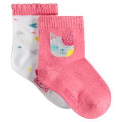 Σετ 2 ζευγάρια ασορτί κάλτσες με ζακάρ μοτίβο γάτα και καρδούλες