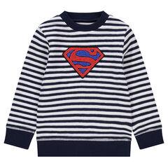 Πουλόβερ με φαντεζί πλεκτό με ρίγες και πετσετέ λόγκο ©Warner Superman