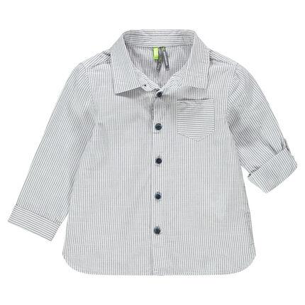 Μακρυμάνικο πουκάμισο με λεπτές ρίγες