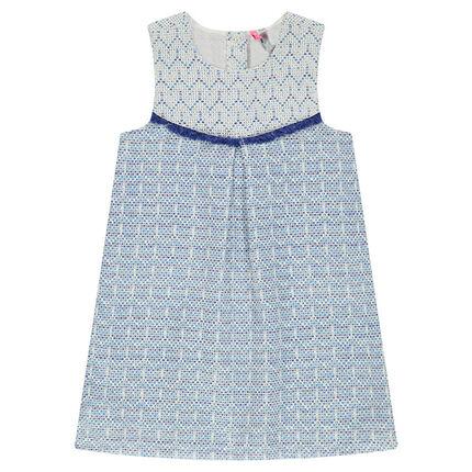 Φόρεμα εμπριμέ ζακάρ με διακοσμητικά κρόσσια