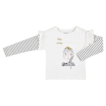 Μακρυμάνικη μπλούζα σε τετράγωνη γραμμή με διακοσμητική στάμπα